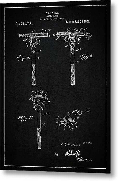 Vintage Safety Razor Patent, 1920 - Metal Print from Wallasso - The Wall Art Superstore