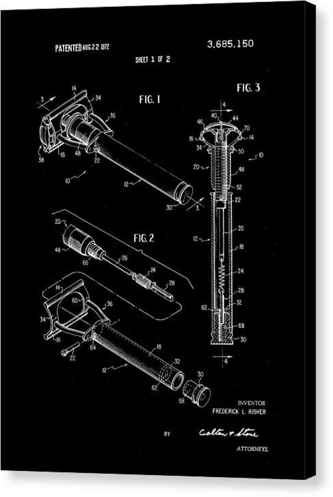 Vintage Safety Razor Patent, 1972 - Canvas Print from Wallasso - The Wall Art Superstore