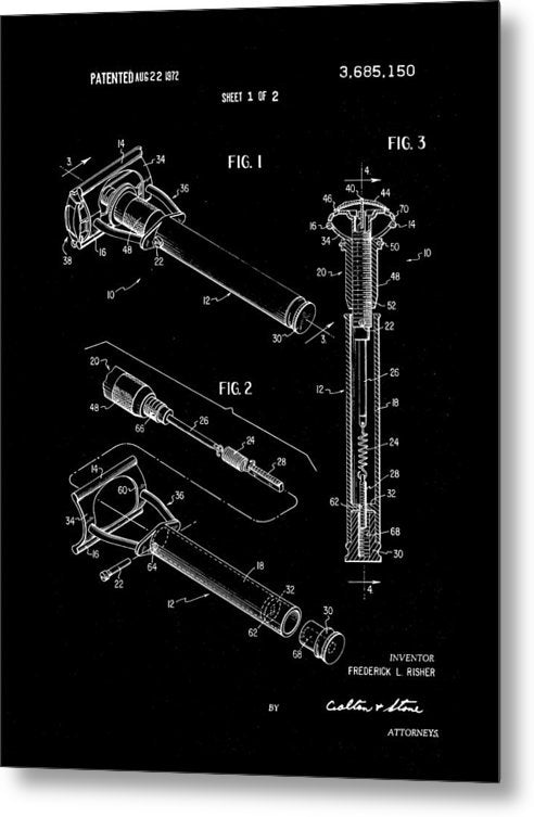 Vintage Safety Razor Patent, 1972 - Metal Print from Wallasso - The Wall Art Superstore