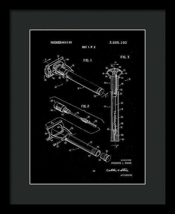 Vintage Safety Razor Patent, 1972 - Framed Print from Wallasso - The Wall Art Superstore