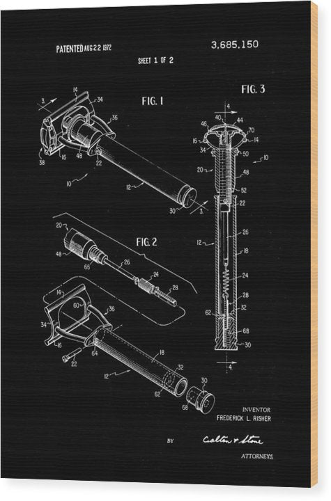 Vintage Safety Razor Patent, 1972 - Wood Print from Wallasso - The Wall Art Superstore