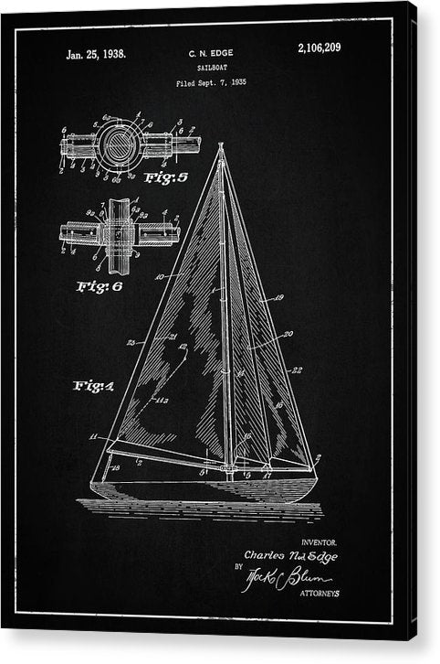 Vintage Sailboat Patent, 1938 - Acrylic Print from Wallasso - The Wall Art Superstore