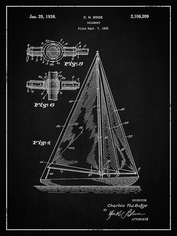 Vintage Sailboat Patent, 1938 - Art Print from Wallasso - The Wall Art Superstore