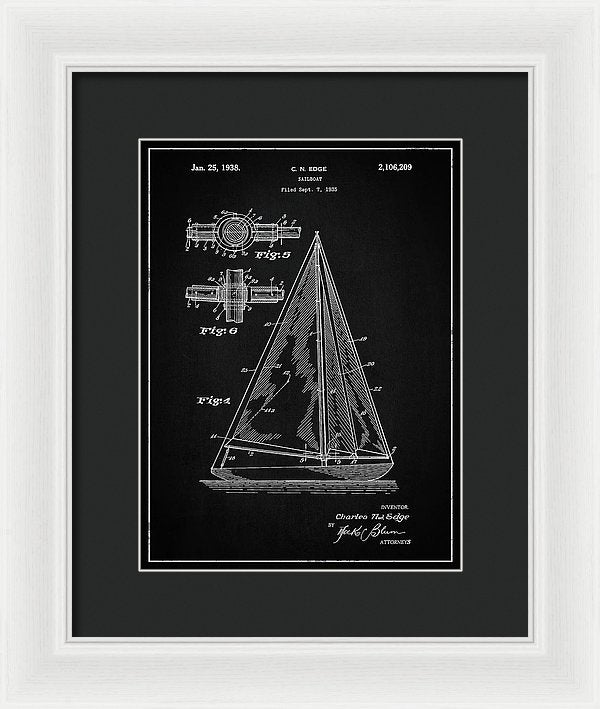 Vintage Sailboat Patent, 1938 - Framed Print from Wallasso - The Wall Art Superstore