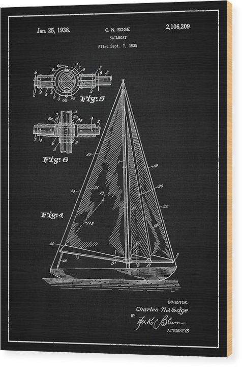 Vintage Sailboat Patent, 1938 - Wood Print from Wallasso - The Wall Art Superstore