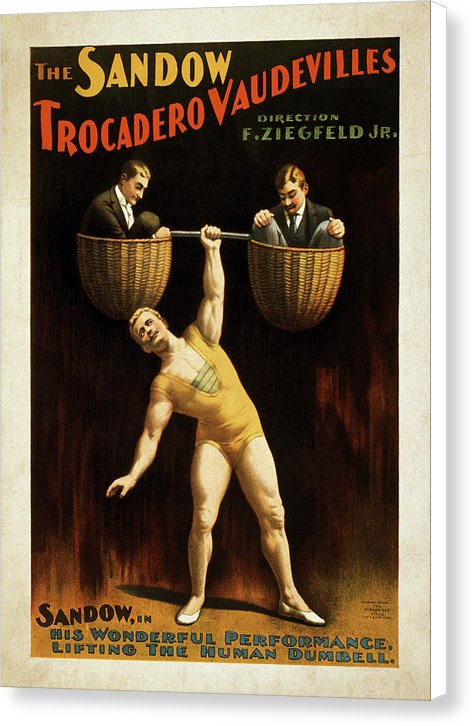 Vintage Sandow Trocadero Vaudevilles Poster 1894 - Canvas Print from Wallasso - The Wall Art Superstore