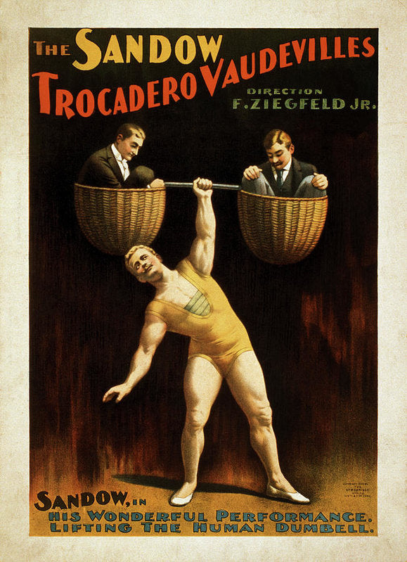 Vintage Sandow Trocadero Vaudevilles Poster 1894 - Art Print from Wallasso - The Wall Art Superstore