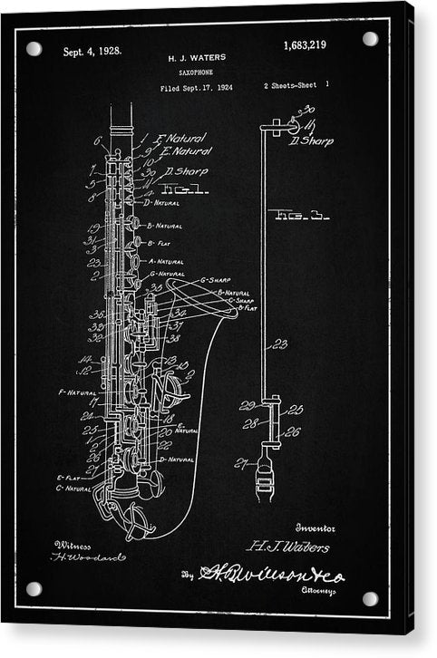 Vintage Saxophone Patent, 1928 - Acrylic Print from Wallasso - The Wall Art Superstore