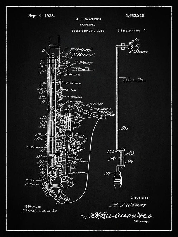 Vintage Saxophone Patent, 1928 - Art Print from Wallasso - The Wall Art Superstore