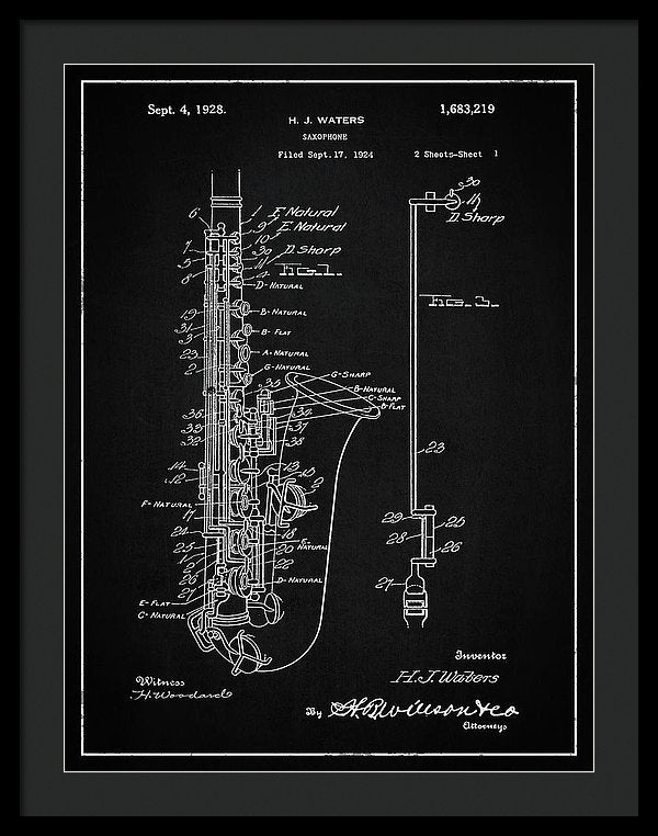 Vintage Saxophone Patent, 1928 - Framed Print from Wallasso - The Wall Art Superstore