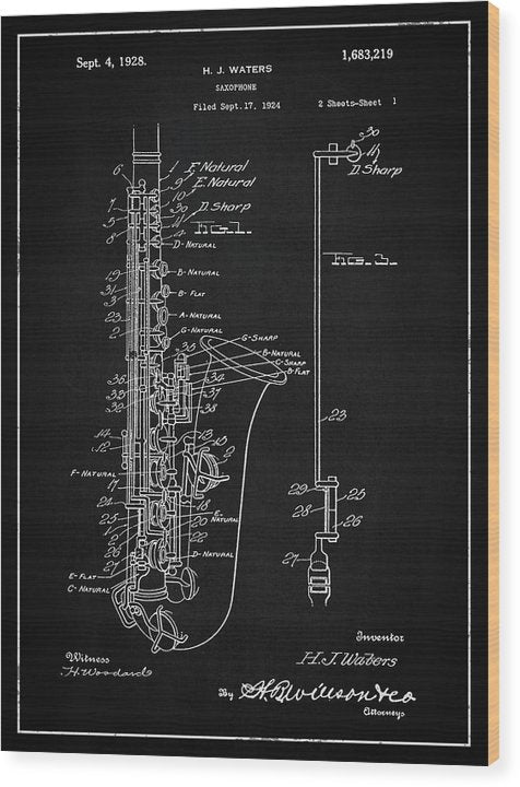 Vintage Saxophone Patent, 1928 - Wood Print from Wallasso - The Wall Art Superstore