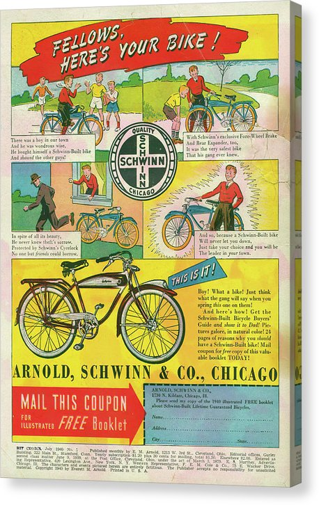 Vintage Schwinn Bicycle Comic Book Advertisement - Canvas Print from Wallasso - The Wall Art Superstore