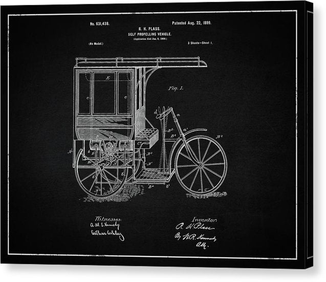 Vintage Self Propelling Vehicle Patent, 1899 - Canvas Print from Wallasso - The Wall Art Superstore