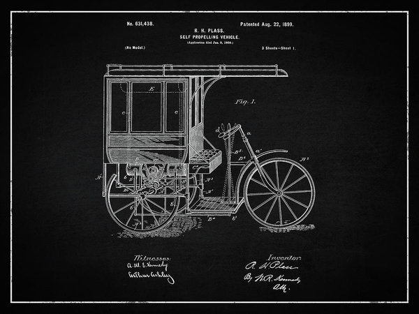 Vintage Self Propelling Vehicle Patent, 1899 - Art Print from Wallasso - The Wall Art Superstore