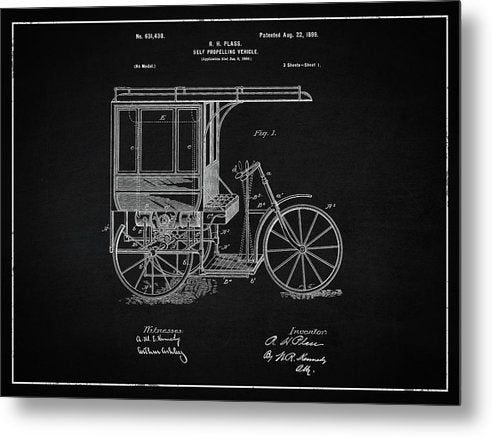Vintage Self Propelling Vehicle Patent, 1899 - Metal Print from Wallasso - The Wall Art Superstore