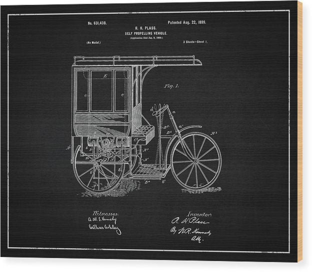 Vintage Self Propelling Vehicle Patent, 1899 - Wood Print from Wallasso - The Wall Art Superstore