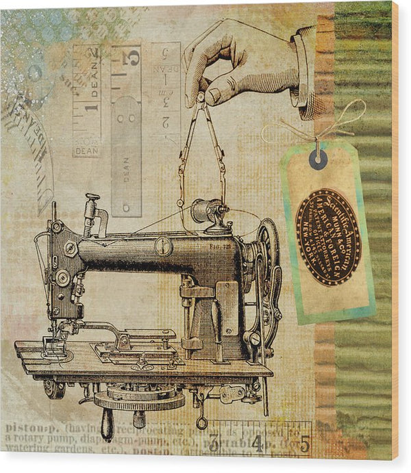 Vintage Sewing Machine Decoupage Design - Wood Print from Wallasso - The Wall Art Superstore