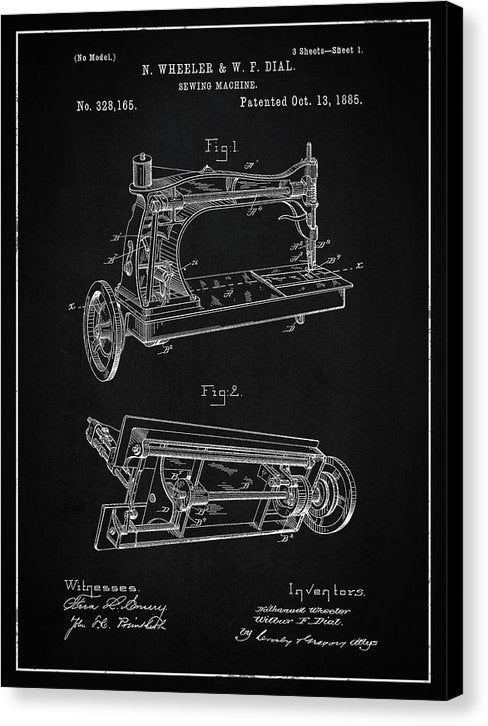 Vintage Sewing Machine Patent, 1885 - Canvas Print from Wallasso - The Wall Art Superstore