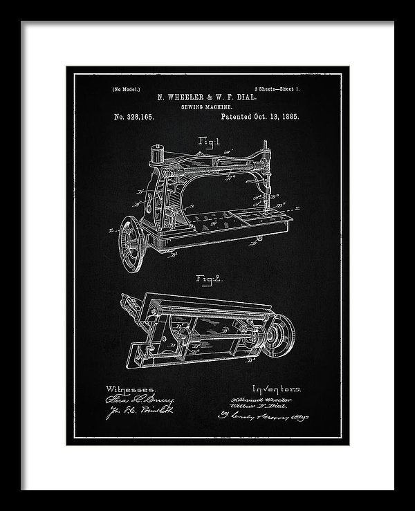 Vintage Sewing Machine Patent, 1885 - Framed Print from Wallasso - The Wall Art Superstore