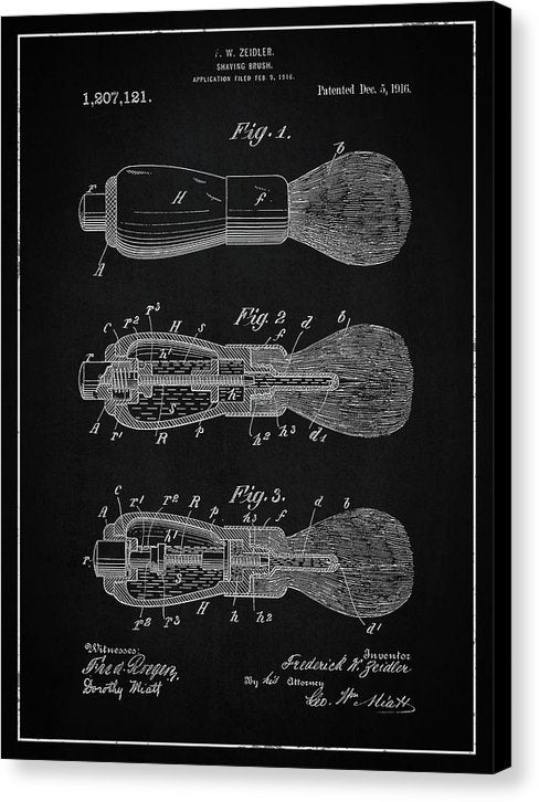 Vintage Shaving Brush Patent, 1916 - Canvas Print from Wallasso - The Wall Art Superstore