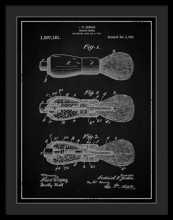 Vintage Shaving Brush Patent, 1916 - Framed Print from Wallasso - The Wall Art Superstore