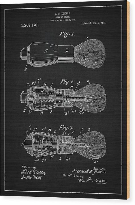Vintage Shaving Brush Patent, 1916 - Wood Print from Wallasso - The Wall Art Superstore