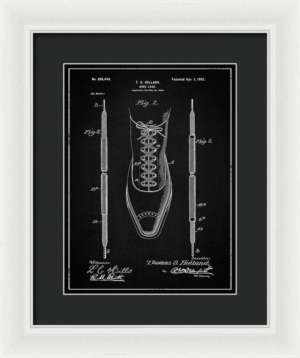 Vintage Shoe Lace Patent, 1902 - Framed Print from Wallasso - The Wall Art Superstore