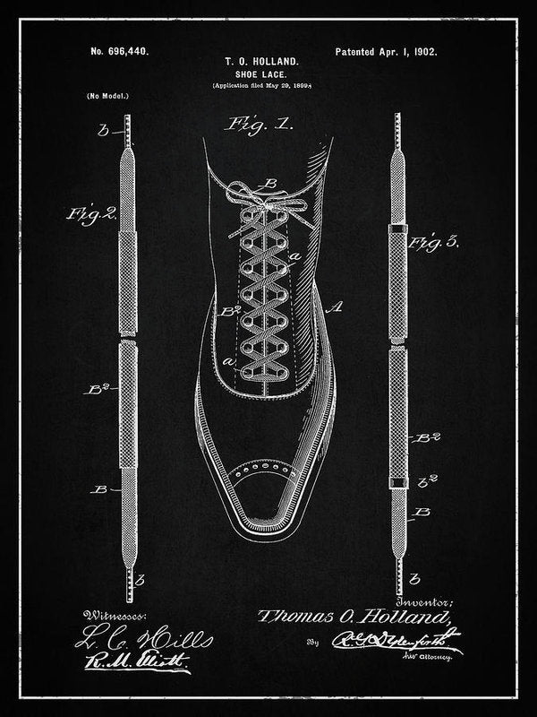 Vintage Shoe Lace Patent, 1902 - Art Print from Wallasso - The Wall Art Superstore