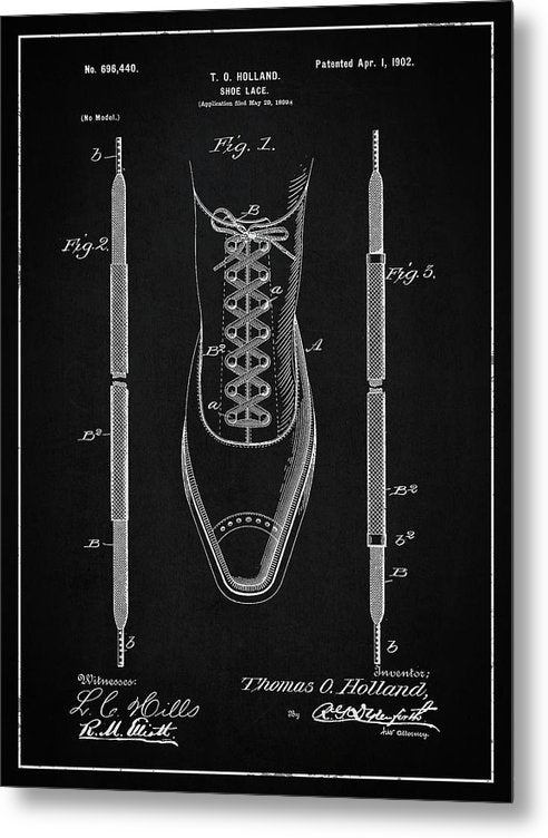 Vintage Shoe Lace Patent, 1902 - Metal Print from Wallasso - The Wall Art Superstore