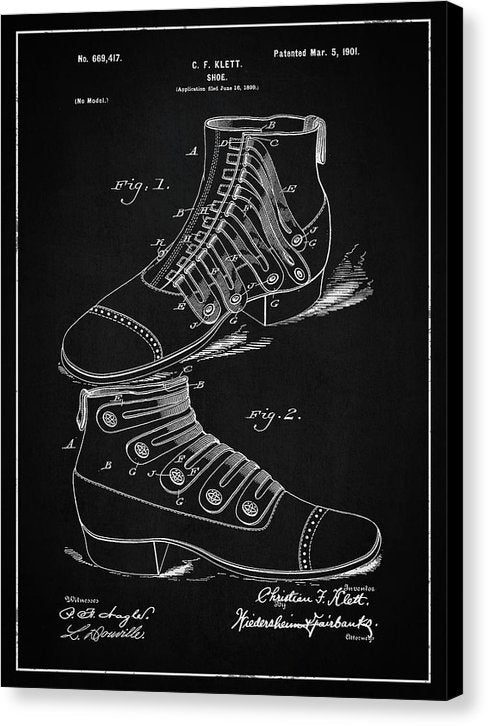 Vintage Shoe Patent, 1901 - Canvas Print from Wallasso - The Wall Art Superstore
