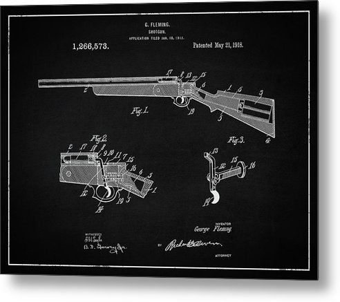 Vintage Shotgun Patent, 1918 - Metal Print from Wallasso - The Wall Art Superstore