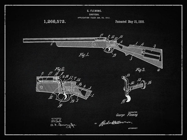 Vintage Shotgun Patent, 1918 - Art Print from Wallasso - The Wall Art Superstore