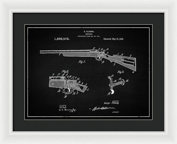 Vintage Shotgun Patent, 1918 - Framed Print from Wallasso - The Wall Art Superstore