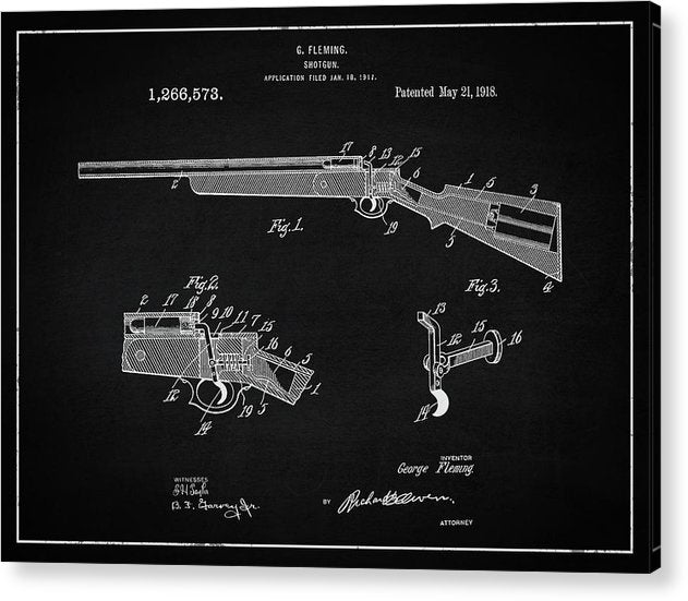 Vintage Shotgun Patent, 1918 - Acrylic Print from Wallasso - The Wall Art Superstore