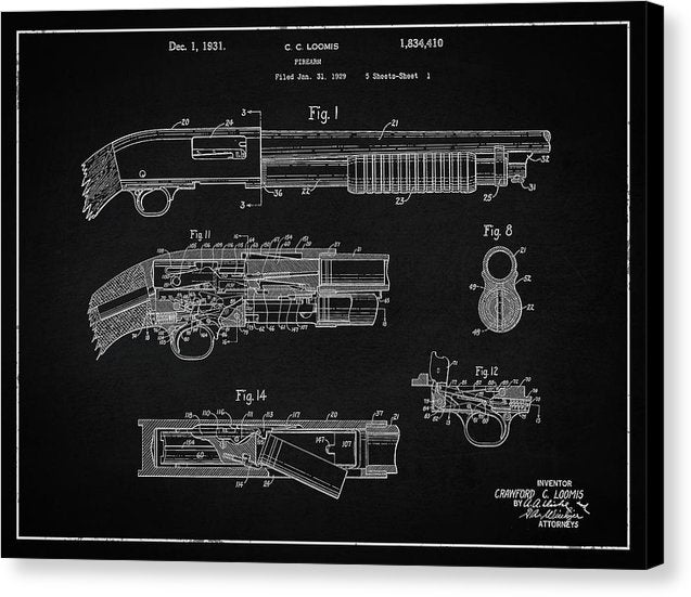 Vintage Shotgun Patent, 1929 - Canvas Print from Wallasso - The Wall Art Superstore
