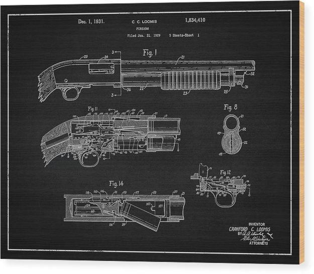 Vintage Shotgun Patent, 1929 - Wood Print from Wallasso - The Wall Art Superstore