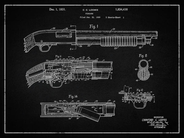 Vintage Shotgun Patent, 1929 - Art Print from Wallasso - The Wall Art Superstore