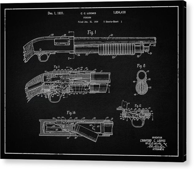Vintage Shotgun Patent, 1929 - Acrylic Print from Wallasso - The Wall Art Superstore