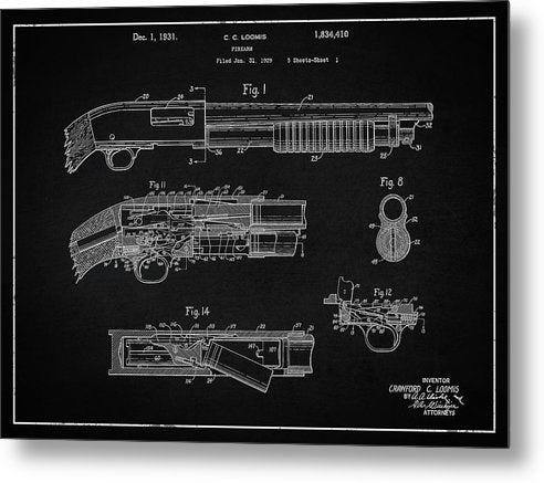 Vintage Shotgun Patent, 1929 - Metal Print from Wallasso - The Wall Art Superstore