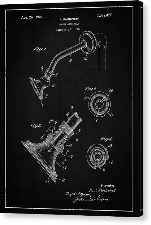 Vintage Shower Head Patent, 1926 - Canvas Print from Wallasso - The Wall Art Superstore