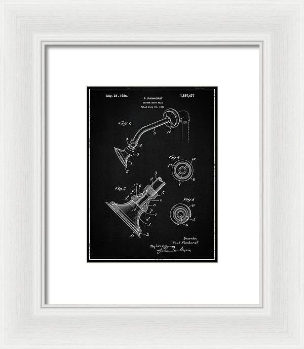 Vintage Shower Head Patent, 1926 - Framed Print from Wallasso - The Wall Art Superstore