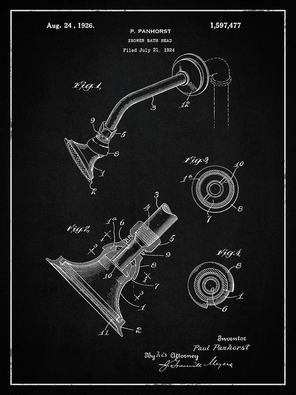 Vintage Shower Head Patent, 1926 - Art Print from Wallasso - The Wall Art Superstore
