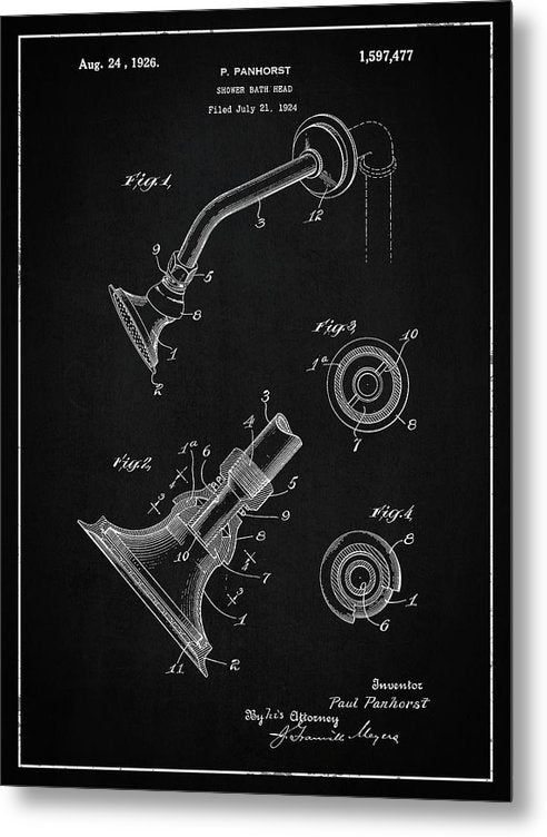 Vintage Shower Head Patent, 1926 - Metal Print from Wallasso - The Wall Art Superstore