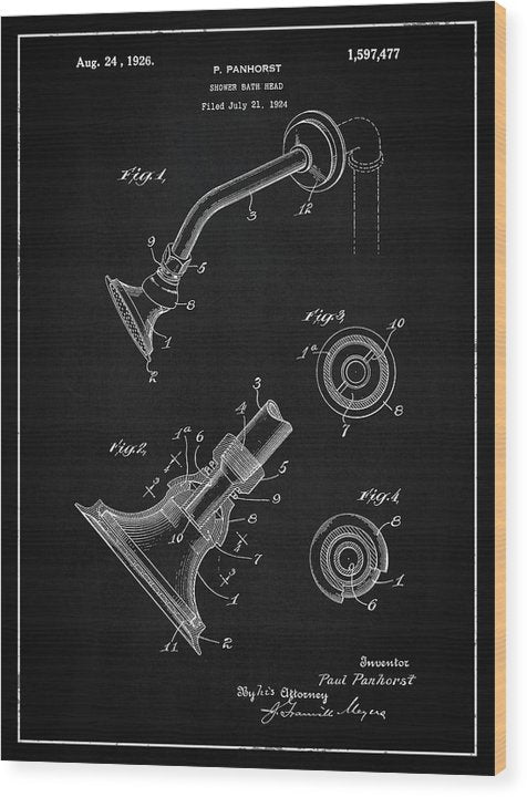 Vintage Shower Head Patent, 1926 - Wood Print from Wallasso - The Wall Art Superstore
