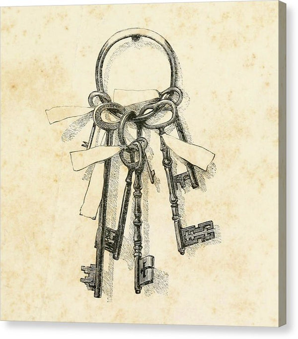 Vintage Skeleton Key Drawing - Canvas Print from Wallasso - The Wall Art Superstore