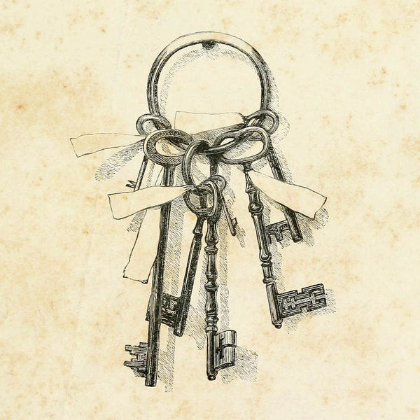 Vintage Skeleton Key Drawing - Art Print from Wallasso - The Wall Art Superstore