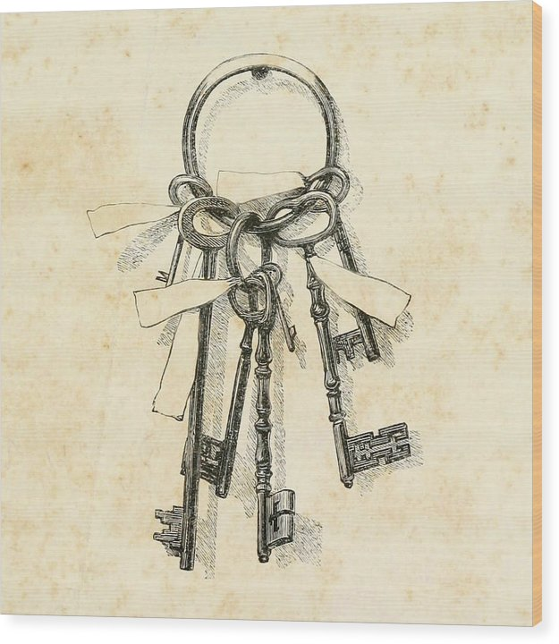Vintage Skeleton Key Drawing - Wood Print from Wallasso - The Wall Art Superstore