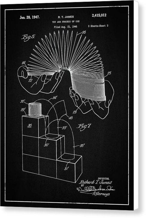Vintage Slinky Patent, 1947 - Canvas Print from Wallasso - The Wall Art Superstore