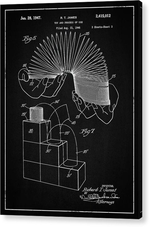 Vintage Slinky Patent, 1947 - Acrylic Print from Wallasso - The Wall Art Superstore