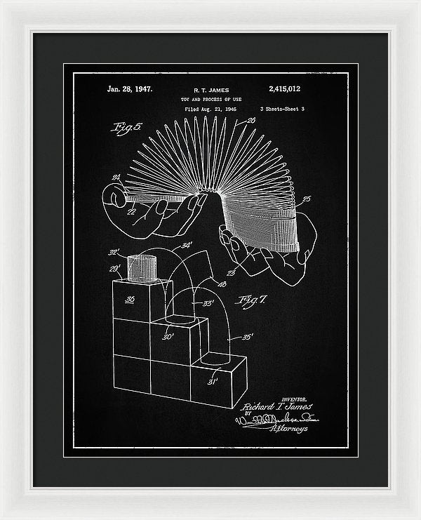 Vintage Slinky Patent, 1947 - Framed Print from Wallasso - The Wall Art Superstore